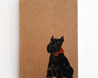Scottie Dog Notebook: Small Ribbed Kraft Notepad with Scottish Terrier Print. Passport Sized, Plain Pages.