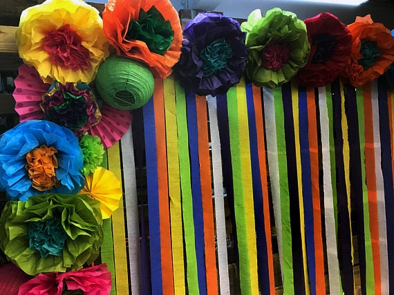 Mexican tissue paper flowers photo wall wedding fiesta mightylinksfo