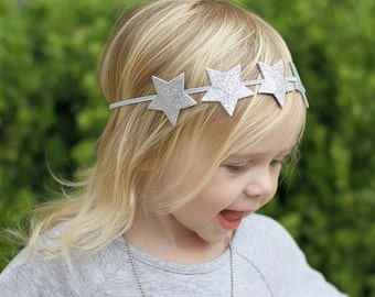 Silver Star Headband,Silver Glitter Star Headband,Star Halo Headband,Star Headband for Baby Toddler Girls Women,Photo Prop,Patriotic
