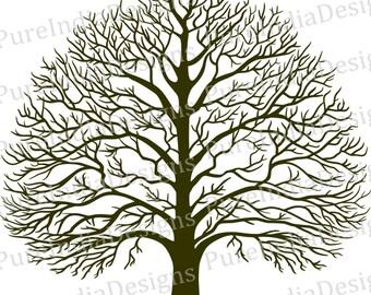 Tree Svg, Tree of Wisdom, Tree of Life, Snow Tree, DXF, EPS, Digital Cutting File, Cameo, Cricut, Silhouette, Tree Vector, Wall Decal