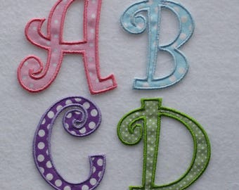 Iron on CAPITALS Pink 4.5cm S alphabet letters nursery embroidered patches  wholesale machine embroidery designs