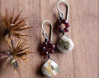 Ocean Jasper and Garnet Gemstone Earrings in Oxidized Sterling Silver and Fine Silver