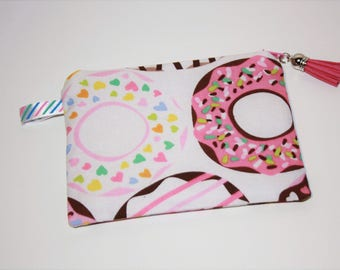 Wallet / clutch in cotton with the delicious Donuts!