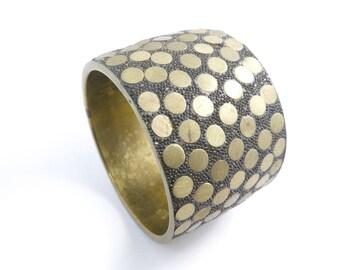 Vintage Brass Bangle, Modernism, Circles, Black Detailing, Statement Bracelet, STA96