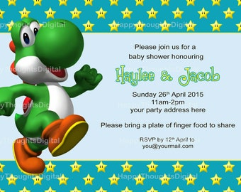Super Mario Bros Baby Shower Invitation And Announcement