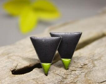 Black & Green Minimalist Earrings/ Triangle studs/ Ceramic earrings/ Silver Stud Earrings/ Geometric earrings / Great mothers day gift