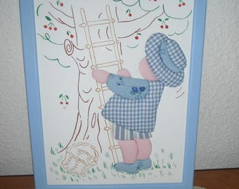 Frame for child with pattern in blue cotton