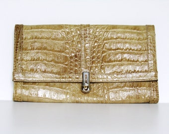 Vintage 80's Ochre moc-croc clutch bag