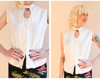 1950s Blouse // Mac Shore Cotton Blouse // vintage 50s blouse