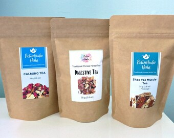 3 Chinese herbal tea set - 1x digestive tea, 1x Calming tea, and 1x Shao Yao Muscle Tea for discount
