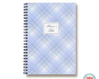 Custom Notebook Monochrome Blue Tartan Stripes  Bullet Journal Notebook Planner Sketchbook Spiral Notebook Schrift Recipe Book  1N