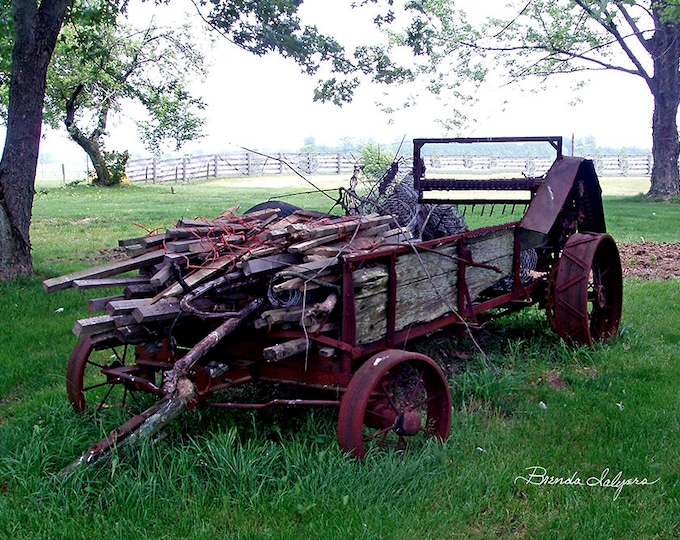 Farm Manure Spreader by Brenda Salyers, Fine Art Giclee Print on Paper or Canvas, Custom or Framed Orders Welcome
