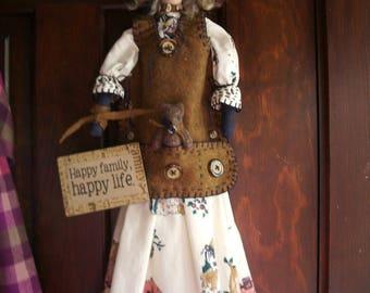 "Handmade Folk Art  Primitive 22""- Brinley's Bear"