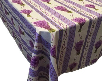 Acrylic Coated Tablecloth, French Tablecloth, Lavender Striped Tablecloth, Small Tablecloths