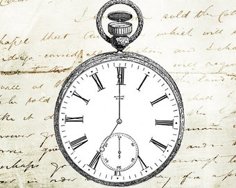 Vintage Clipart illustration Victorian pocket watch timepiece design graphic printable craft transfer scrapbook instant download PNG JPG PDF