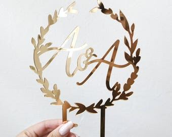 Wreath + Calligraphy Caketopper - Weddings & Custom