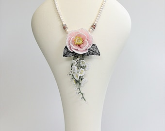 Blooming Camellia, Bead Embroidered Flower, Beaded Necklace, Bead Woven Floral Necklace, Bridal Necklace, One of a Kind