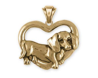 Dachshund Pendant Jewelry 14k Gold Handmade Dog Pendant DA28-PG