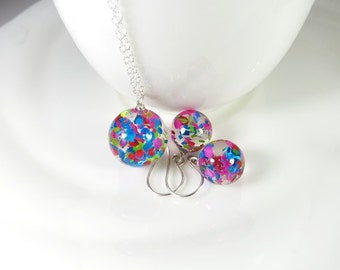 Confetti Jewelry Resin Ball Jewelry Set Gift Resin Confetti Pink Blue Green Colorful Fun Jewelry Gift Necklace Ball Earrings Playful Clear