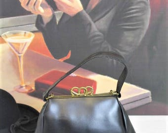 Vintage 1930's Handbag/Black 1930's Bag/Quality Leather Handbag/1930's Reenactment (Ref10225)