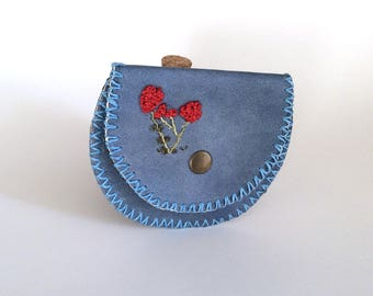 Blue  Leather Coin Bag, Change Purse with Wax Linen, Handmade Wallet