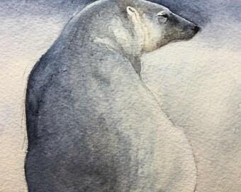 Polar Pear print / watercolour polar bear illustration / Giclee print / ice bear  / woodland animal art / fine art reproduction /home decor