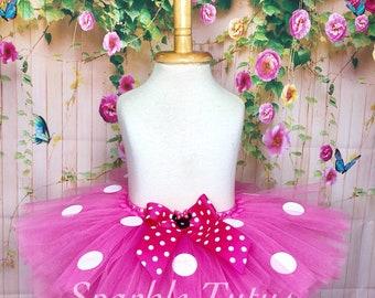 ON SALE, Minnie Mouse Inspired Tutu, Hot Pink Tutu, Minnie Mouse Tutu, Girls Tutu, Birthday Tutu, First Birthday, Baby Tutu, Costume Tutu
