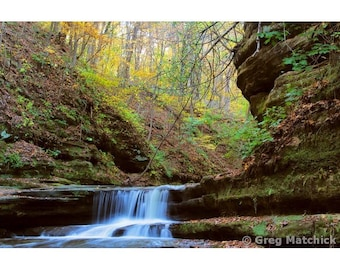 """Fine Art Color Landscape Nature Photography of Waterfalls at Matthiessen State Park in Illinois - """"Giants Bathtub Cascade 1"""""""