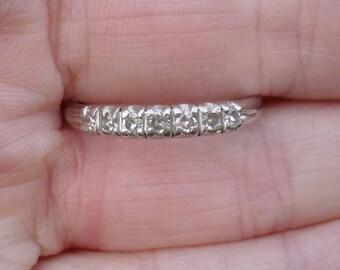 1940s DIAMOND ANNIVERSARY Ring Stacker--- Platinum IRID - Rare - Art Deco