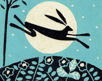 Moon Hare Linocut Limited Edition of 15 Hand Pulled Print on handmade paper - Black rabbit - Magical,Original Print by Giuliana Lazzerini.