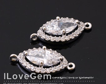 WSALE / 10 pcs / NP-1711 Rhodium Plated, Cubic zirconia, Marquise Connector, 9X19mm