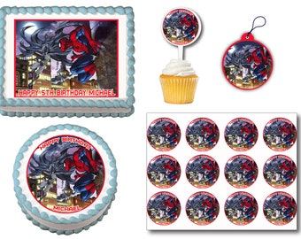 Spiderman Batman Edible Birthday Cake Toppers, Plastic cupcake Picks, Gift Tags or Stickers