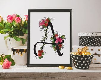 Letter A print, monogram printable wall art, floral wall decor, initial print, nursery wall print, digital watercolor letter, calligraphy