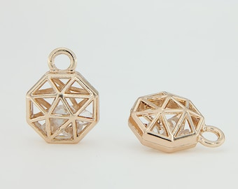 Gold Cage Charm, Octagon Cage Pendant, Pkg of 2pcs, CB088