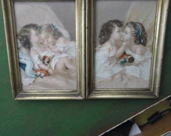 Victorian  Chromolithographs, Victorian Chromo , Children Chromo , Framed Victorian prints of two little girls