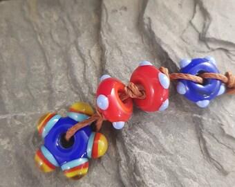 Handmade Lampwork Beads Glass - funky colourful big hole beads