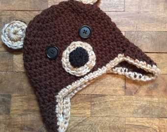 Crochet Baby Bear Hat, Bear Hat, Brown Bear Hat, Brown Crochet Hat