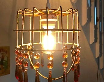 Amber rustic basket light