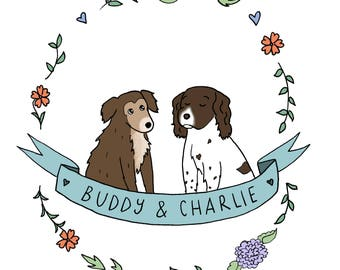 Personalised Pet Illustration - Animal Companion, Wedding, Anniversary, Birthday, Custom gift, Valentine's Present
