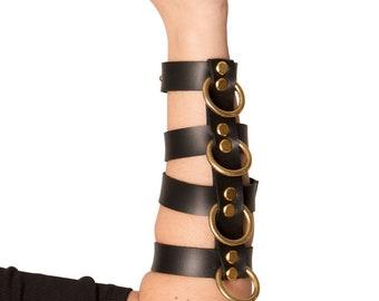 Black faux leather  O ring cuff