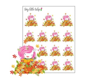 Planner Stickers Unicorn Jumping in Leaves