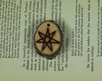 English Hawthorn Wood Fairy Star Pendant - for Heart Healing & the Fey - Pagan, Wiccan, Witchcraft, Septagram