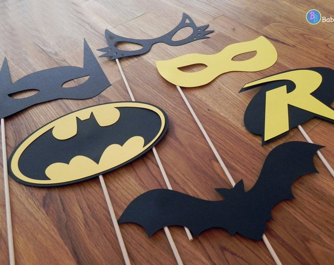 Superhero Photo Props: The Batman Set (6Pieces) - party wedding birthday die cut superhero mask robin cat woman centerpiece