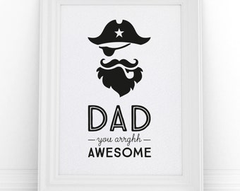 Pirate Print, Fathers Day Gift, Gift from Son, New Dad Gift, Retro Pirate Art Poster, Gifts for Dad, Captain Print, Retro Birthday Gift