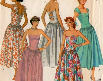 Uncut Misses' DANCE DRESS PATTERN McCall's #2471 Size 6-8 Fitted Bodice Strapless or Gathered Straps Floor or Mid Length Prom Summer Sewing