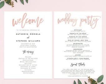Rose Gold Wedding Program Printable Template, Wedding Program Printable Template. Calligraphy Wedding Program, PDF Template Instant Download
