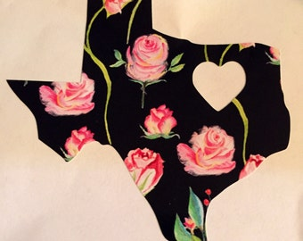 Floral Texas Heart Decal