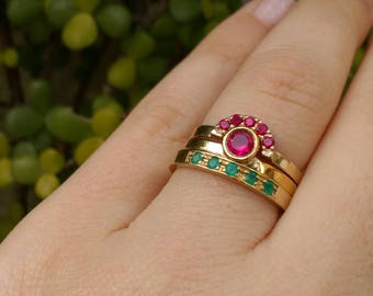 gold stacking rings, curved gold ring, gold crown ring, ruby stacking ring, gold emerald ring, birthstone ring, gold engagement ring