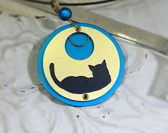 Silhouette de chat collier-amant de chat collier-chat noir chat collier-repos
