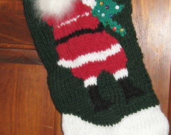Hand-Knitted Personalized Christmas Stocking - Santa with Christmas Tree and sequin ornaments